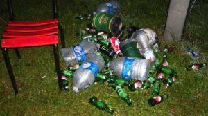Das welovebier.de- Team zeigt ein Bild, auf dem ein Berg voller Leergut auf dem Rasen zu sehen ist, der unter anderem aus Bierflaschen und Fässern besteht. und möchte dir zeigen was du gegen einen Kater tun kannst und ob ein Bier gegen den Kater der richtige Weg ist