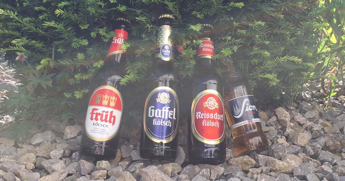 Kölsch, ist das Bier der Domstadt. Es darf nur in Köln und Umgebung gebraut werden. Auf dem Bild sind die Kölsch-Brauerein Gaffel, Früh, Reissdorf und Sion abgebildet